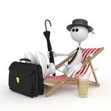 The 3D little man on a beach. Stock Photography