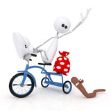 The 3D little man by bicycle. Royalty Free Stock Photos