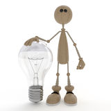 The 3D little man with a bulb. Royalty Free Stock Photography
