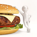 3 d little man with burger on white Stock Photos