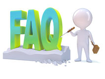 3d Little man carves the word FAQ Stock Image