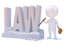 3d Little man carves the word Law Stock Images