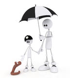The 3D little man with the child on a rain. Stock Photo