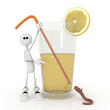 The 3D little man with a cocktail. Royalty Free Stock Photos