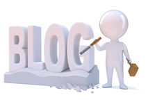3d Little man creates a blog. 3d render of a little person carving the word Blog Stock Photo