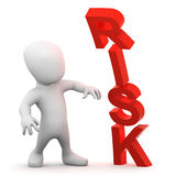3d Little man is daunted by risk Stock Photo