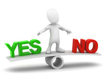 3d Little man decides yes or no Royalty Free Stock Photography