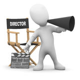 3d Little man directs the movies Royalty Free Stock Images