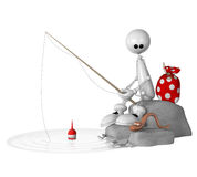 The 3D little man on fishing. Royalty Free Stock Photography