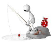 The 3D little man on fishing. Royalty Free Stock Photos