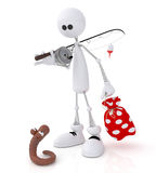 The 3D little man on fishing. Stock Photography