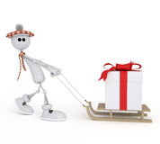 The 3D little man with a gift. Stock Photos