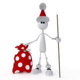The 3D little man with gifts. Stock Images