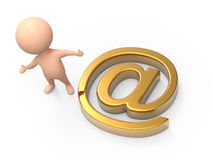 3d Little man gold email address Royalty Free Stock Photos