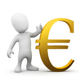 3d Little man with gold Euro currency symbol. 3d render of a little person with a gold Euro currency symbol Royalty Free Stock Photography