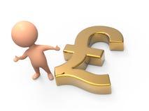 3d Little man gold UK Pound symbol Royalty Free Stock Photo