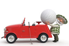 3d little man golfer by car Royalty Free Stock Photo