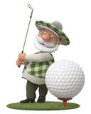 3d little man golfer Royalty Free Stock Photos