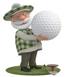 3d little man golfer Royalty Free Stock Images
