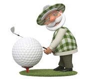 3d little man golfer Royalty Free Stock Photo