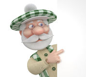 3d little man golfist with a billboard. Royalty Free Stock Images