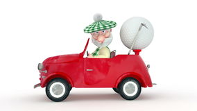 3d little man golfist  by car. stock video