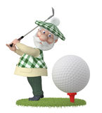 3d little man golfist. Royalty Free Stock Photo