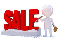 3d Little man has carved the word SALE in rock Royalty Free Stock Image
