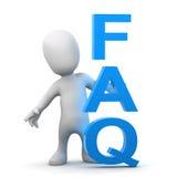 3d Little man has a FAQ Stock Images