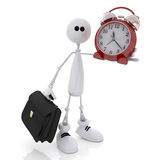 The 3D little man with hours and a portfolio. Stock Photo