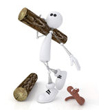 The 3D little man with a log. Royalty Free Stock Photography