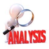 3d Little man looks at the analysis stock illustration