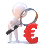 3d Little man looks at the Euro through magnifying glass Royalty Free Stock Photos