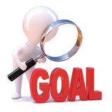 3d Little man looks at the goal Royalty Free Stock Photos