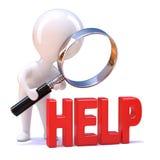3d Little man looks for help vector illustration