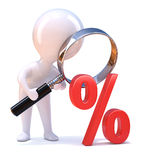 3d Little man looks through a magnifying glass at percent sign Stock Photos