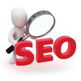 3d Little man looks at SEO Royalty Free Stock Images