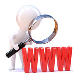 3d Little man looks at the WWW through magnifier Royalty Free Stock Images