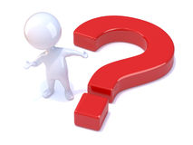 3d Little man next to a question mark Stock Image
