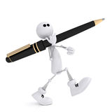 The 3D little man with a pen. The small white person on springs costs with the handle Stock Image