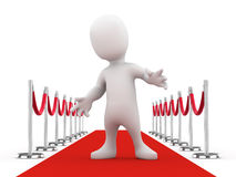 3d Little man poses on the red carpet Stock Photography