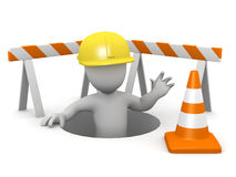 3d Little man repairs the hole in the ground Royalty Free Stock Images