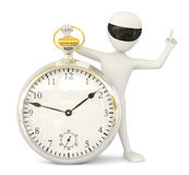 3D little man- retro watch. Royalty Free Stock Photo