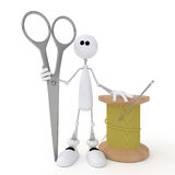 The 3D little man with scissors. Stock Photography