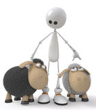 The 3D little man with sheeps Stock Photography