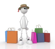 The 3D little man in shop. Stock Photo