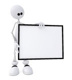 The 3D little man with a sign. Royalty Free Stock Photo