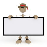 The 3D little man with a sign. Stock Photography
