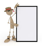 The 3D little man with a sign. Royalty Free Stock Images