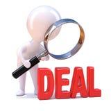 3d Little man studies the deal vector illustration